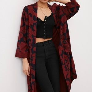 Silence + Noise women's Red Maxi Duster Jacket
